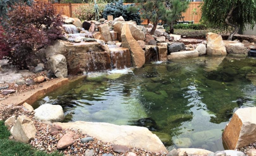 boulders waterfall pond