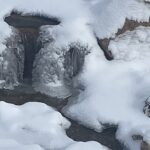 winter pond waterfall
