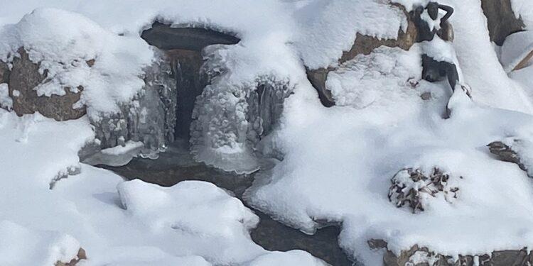 winter pond waterfall