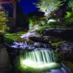 Pond Lighting backyard water feature